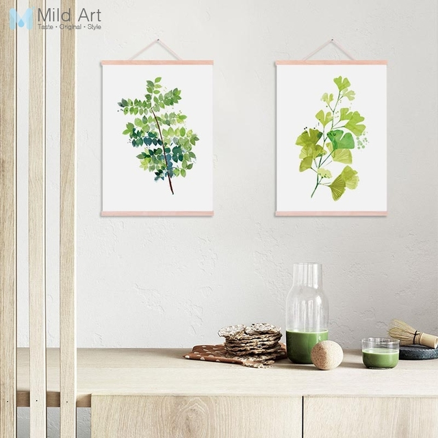 Watercolor Green Ginkgo Plant Leaf Wooden Framed Canvas Painting Nordic Style Living Room Decor Wall Art Pictures Posters Scroll
