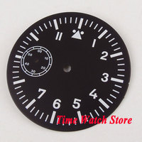 Parnis 38.9mm black sterial dial fit ETA 6497 hand winding movement Watch dial super Luminous white marks D111