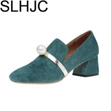 SLHJC Women Autumn Shoes Med High Heel Square Toe Pearl Pumps Square Heel Slip On Pumps