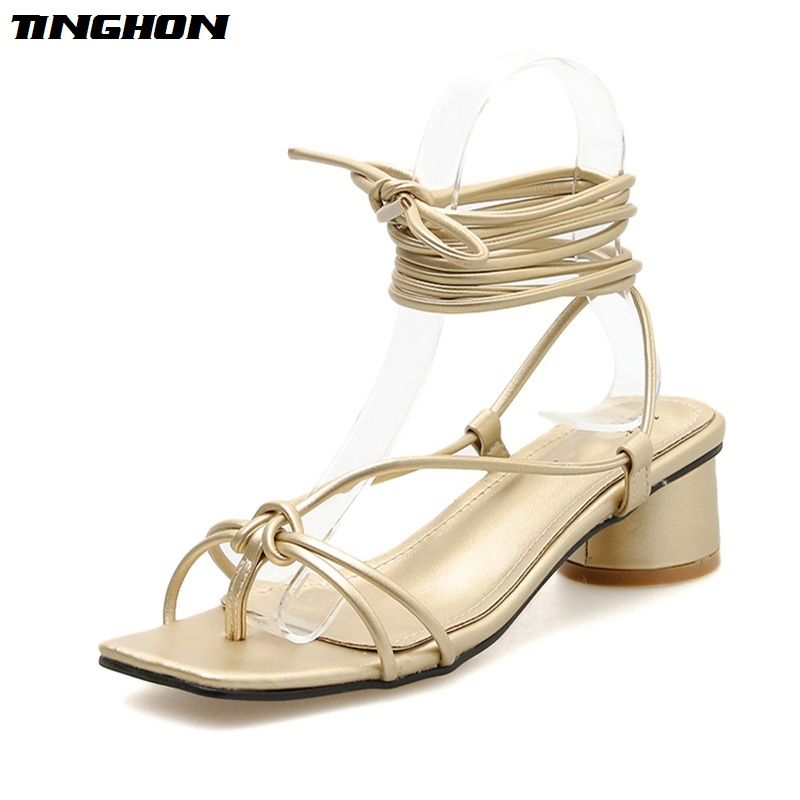 TINGHON Women Mature PVC Basic Sandals Transparent Cross-Tied Thin High Heel Square Toe Party PU Lace-Up Shoes 35-40