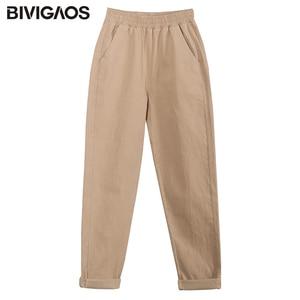 Image 5 - BIVIGAOS 2019 אביב חדש נשים כותנה סרבל מקרית תשיעי הרמון מכנסיים גבירותיי צנון מכנסי עיפרון בציר מטען רופפים מכנסיים