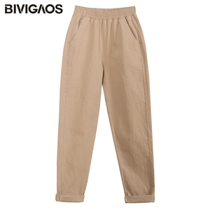 Image 5 - Bivigaos 2019 primavera nova womens algodão macacão casual nona harem calças senhoras rabanete lápis calças soltas calças de carga do vintage