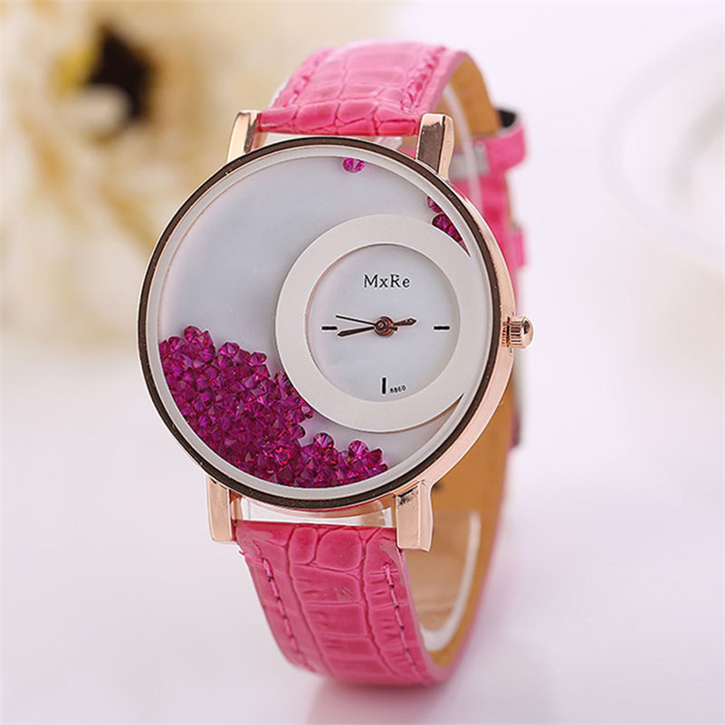 New Famous Casual Woman elegant charming watch Leather Quicksand Rhinestone Quartz Bracelet Wristwatch Watch Dropshipping P4