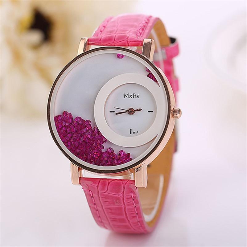 Woman elegant and charming font b watch b font Leather Quicksand Rhinestone Quartz Bracelet Wristwatch font