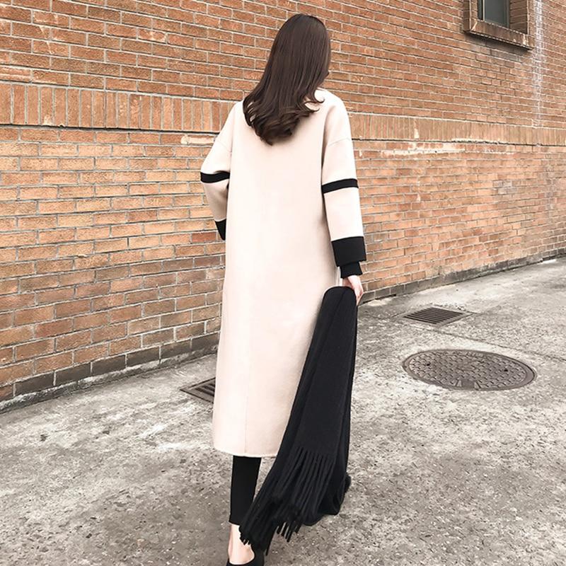 Long Haute down Taille De Grande Nouveau Cachemire Col Manteau Femmes 2018 Breasted noir Double Laine Turn Manteaux Hiver Noir Beige Qualité Femelle zYgWqWF