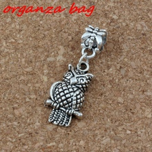 20pcs/lot Dangle Ancient silver Owl Charm Big Hole Beads Fit European Bracelet Jewelry 12x34mm A-229a