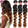 Peruvian Ombre Hair Extensions Two Tone Human Hair Weaves 3 Bundles Peruvian Loose Wave Ombre Virgin Hair Weave Ombre Human Hair