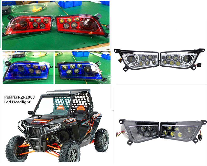 Polaris ATV Parts Red Chrome Blue 2016-17 POLARIS RZR 1000 LED Headlight Conversion Kit POLARIS RZR 900 Conversion Led Headlamp