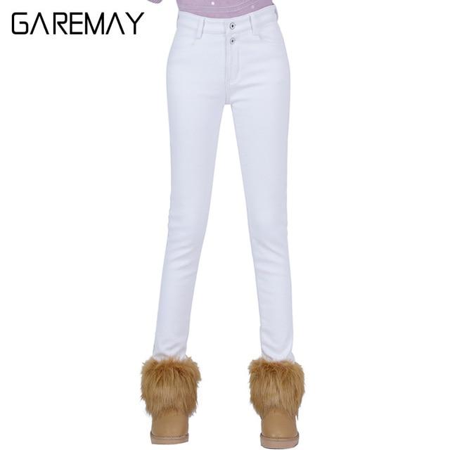 High Waist White Jeans Female 2016 Winter Velvet Pants Thick Warm Stretch Jean Slim Femme Skinny Winter Pencil Pants For Women