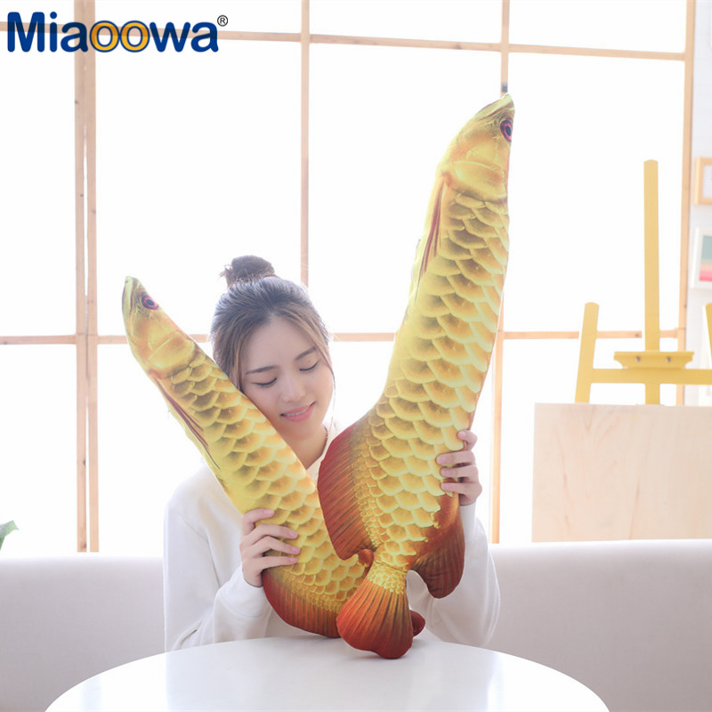 Movies & Tv Purposeful 1pc 70/90cm Simulation Gold Arowana Fish Pillow Realistic Image Plush Toy Soft Fish Animal Stuffed Cushion For Children