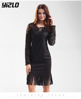 YIZLO Lace Patchwork Women Dress  Summer  V Neck Casual Patchwork Black Dress Tassel Long Sleeve Bodycon Party dresses