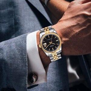 Image 5 - パーニス男性 2018 ラグジュアリーブランドゴールド自動腕時計メンズレディースエレガントダイヤモンドステンレスブレスレット腕時計 PA2112