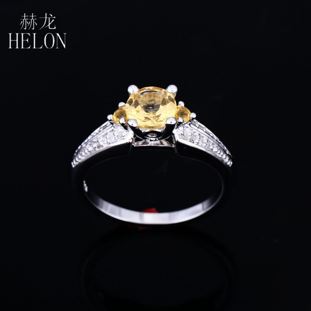 HELON Flawless Round Natural Citrine Engagement Ring Solid Sterling silver 925 Diamonds Wedding Ring Women Party Trendy JewelryHELON Flawless Round Natural Citrine Engagement Ring Solid Sterling silver 925 Diamonds Wedding Ring Women Party Trendy Jewelry