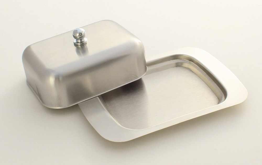 Realand Топ нержавеющая сталь масло блюдо Box Контейнер элегантный сыр сервер для хранения лоток для хранения с легко держать крышкой