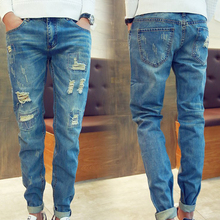 Top quality 2019 Fashion ripped hole  tailor light blue jeans pants men baggy harem teenagers Denim Cowboys trousers