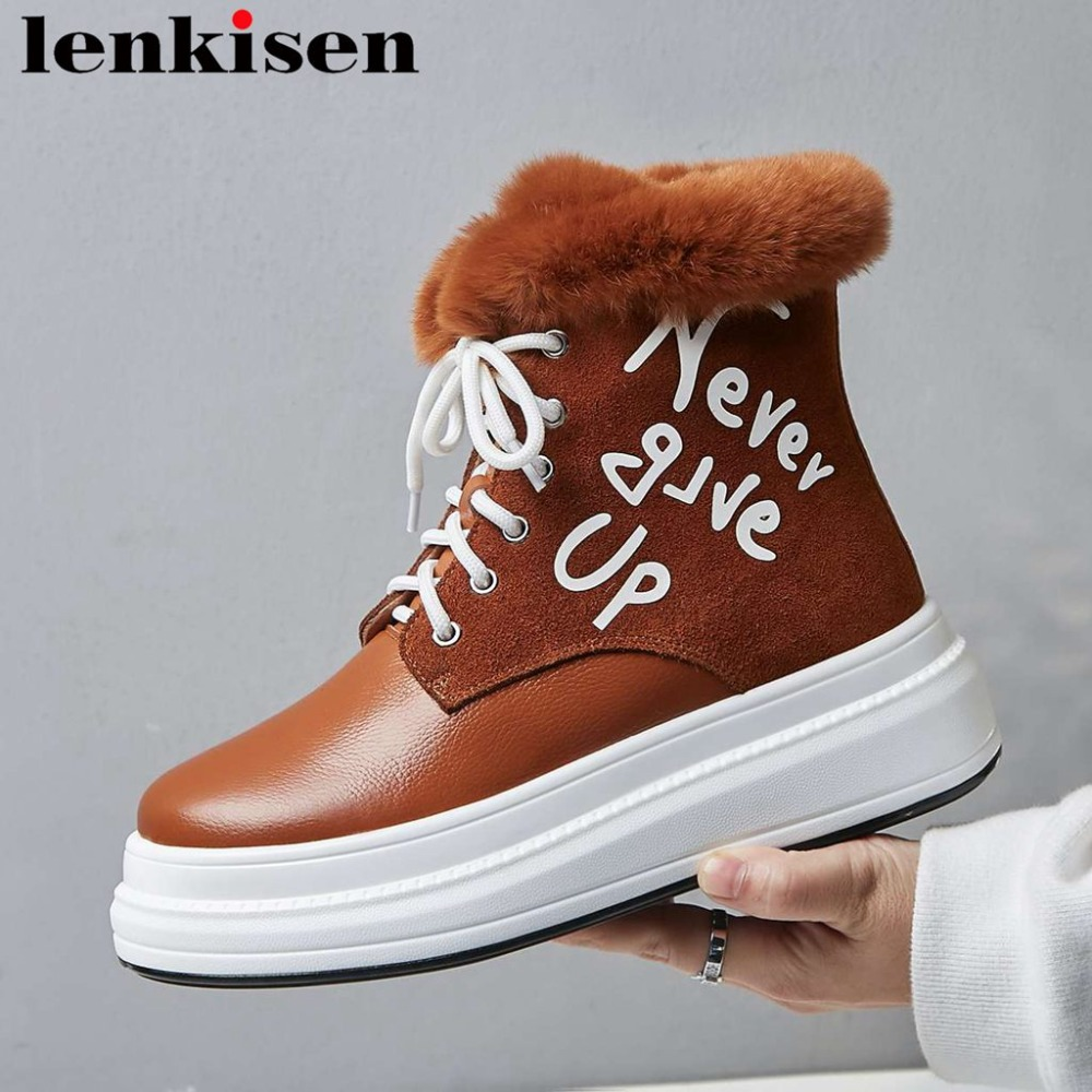 Lenkisen winter simple brand british school med thick bottom waterproof lace up natural leather luxury fur winter snow boots L17Lenkisen winter simple brand british school med thick bottom waterproof lace up natural leather luxury fur winter snow boots L17