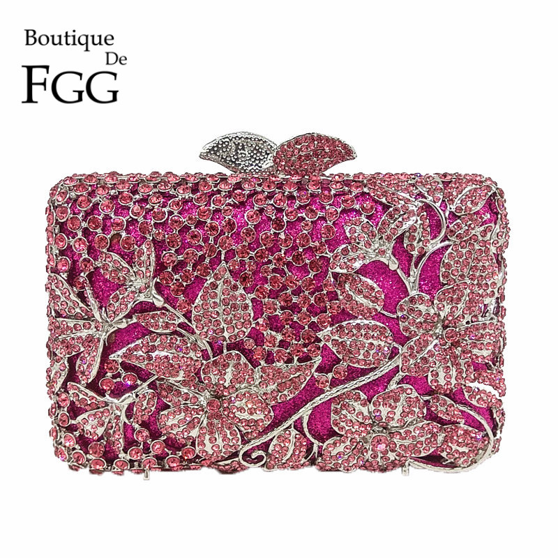 Boutique De FGG Fuchsia Hollow Out Floral Rhinestones Evening Party Clutch Bridal Purse Wedding Crystal Women