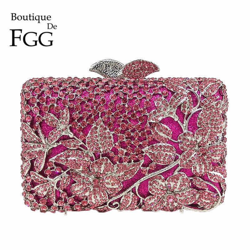 Butik Fgg Fuchsia Hollow Out Bunga Rhinestones Evening Pesta Clutch Bridal Dompet Pernikahan Kristal Wanita Clutches Handbags