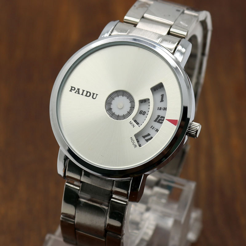 PAIDU Silver Band Quartz Wrist Watch Turntable Black Dial Clock Hours Mens Womens Gift Unisex free shipping 250g far from pretty tea raw tea