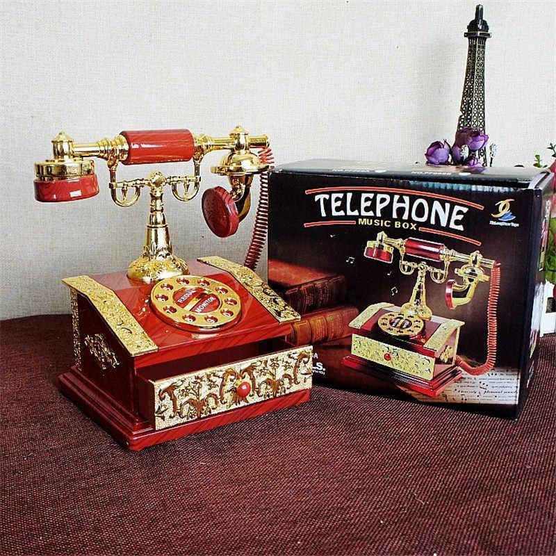 バレンタインデーのガールフレンドのためのギフトプラスチックオルゴール電話モデルヴィンテージオルゴールクラフトクリエイティブジュエリーボックスミニチュア
