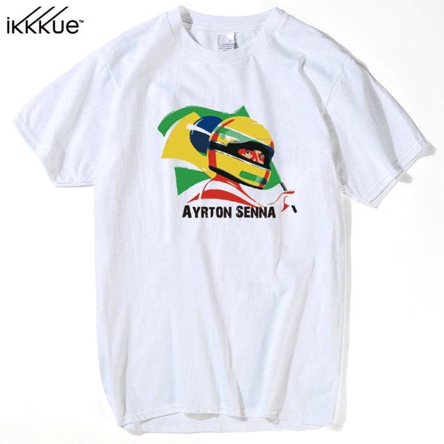 Nova Verão T-shirt F1 Ayrton Senna F1 Car Styling Homens Da Camisa de T Roupas Plus Size m-3xl