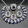 Women Silver Color Jewelry Sets Dark Blue Created Sapphire White CZ Necklace Pendant Bracelets Earrings Rings Free Gift Box