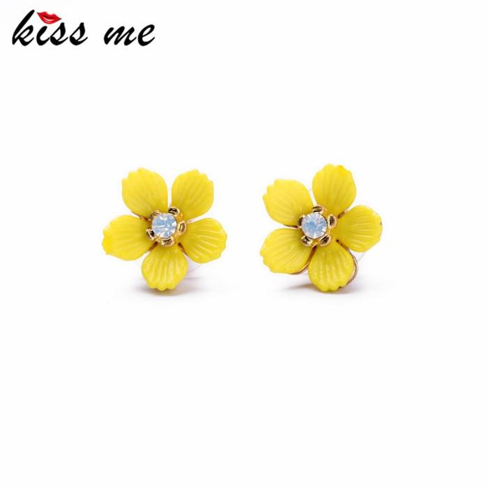 Kiss me 2017 declaración de moda mujer joyería elegante resina amarillo flores s