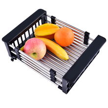 Telescopic fruit drain basket stainless steel drainer rack black kitchen sink storage racks tableware organizer