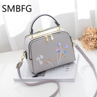 Floral Embroidery Women Leather Handbag Flap Small Bags For Lady Girl 2017 New Design Crossbody Female