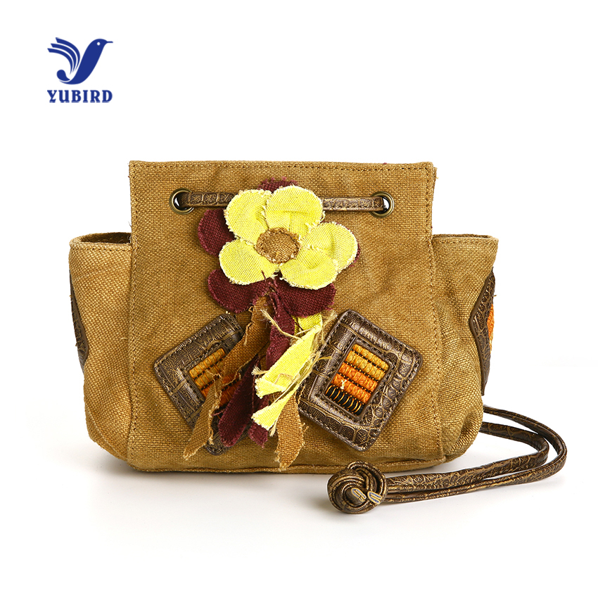YUBIRD Small Bags for Women Shoulder Cross body Bag Canvas Flowers String Beach Bag Vacation Cloth Ladies bolsa pequena feminina-in Shoulder Bags from Luggage & Bags    1