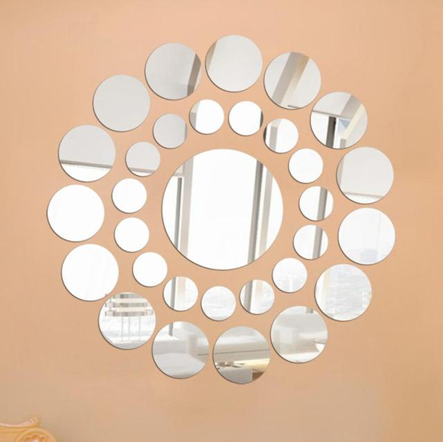 New qualified 31 pcs set round mirror wall sticker acrylic surface decal home room diy