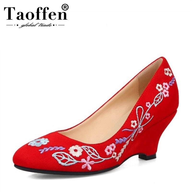 Calzado Cuñas Tamaño Redonda Zapatos Taoffen Vintage Mujeres 33 Bombas 40  púrpura Punta Boda Las Elegante rojo Bordar Negro De OAxtw7wqf e12720a8b14