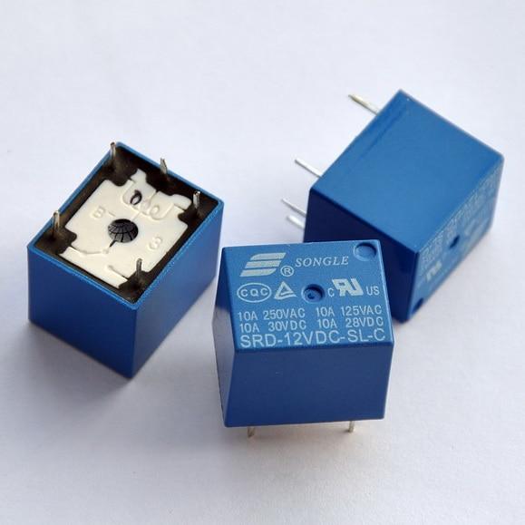 100 pcs/lot ) 12V SPDT Relay, 250V AC/30V DC, 10 Amp-in Electronics