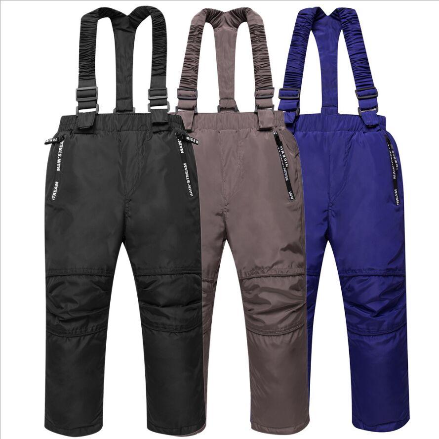 2018 Winter New Children's Strap Pants White Dock Down Thick Baby Boys Outer Pants Boys Pants Warm Children Ski Pants FIt 4-8T