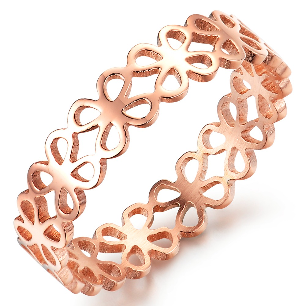 Titanium Steel Jewelry Rose Gold Plated Hollow Cute Clover Ring Girls Birthday Gift Summer Fashion - farnergo Store store