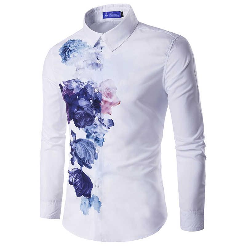 Новое поступление, мужская рубашка с рисунком, длинный рукав, цветочный принт, приталенная Мужская Повседневная рубашка мужская мода, платье, рубашки