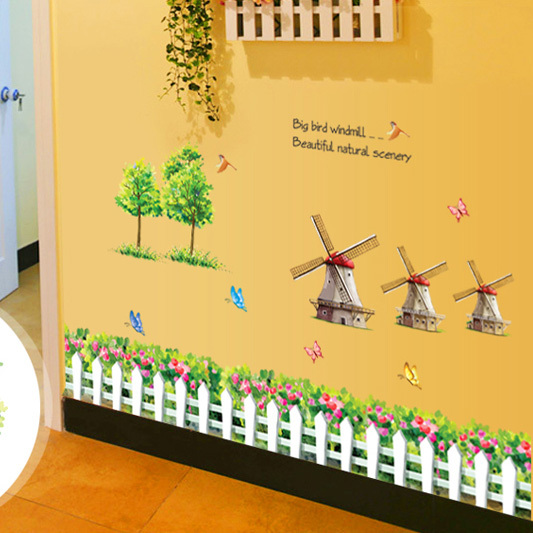 New arrivals Parlor Kids Bedroom Home Decor Mural Decal Cute Warm Countryside Windmill DIY Removable Wall Stickers Size 75*120cm