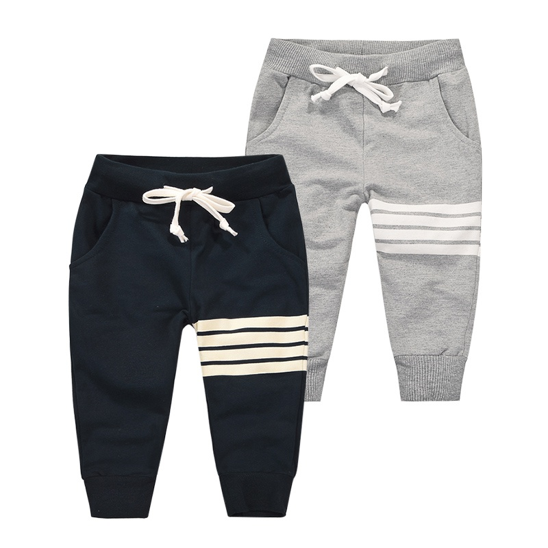 Autumn Winter Korean Baby Boys Casual Pants Cotton Boys Long Trousers Kids Stripe Clothing Harem Pants Elastic Waist Jogger Pant drawstring contrast stripe jogger pants