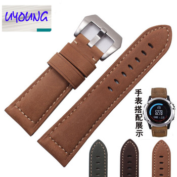 UYOUNG 26 mm for garmin Fenix 3 real leather strap for crazy horse leather strap for Fenix 3 watch band