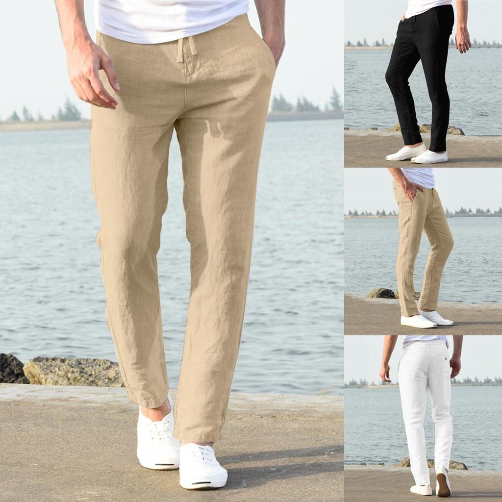 Hawcoar New Fashion Men Casual Work Cotton Blend Pure Elastic Waist Straight Long Pants Trousers Pantalones Hombre штаны Z4