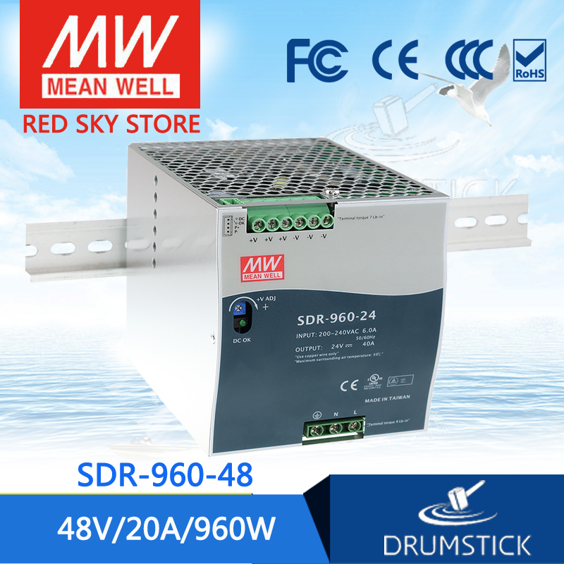 Selling Hot MEAN WELL SDR-960-48 48V 20A meanwell SDR-960 48V 960W Single Output Industrial DIN RAIL with PFC Function mean well original sdr 480p 24 24v 20a meanwell sdr 480p 24v 480w industrial din rail with pfc and parallel function