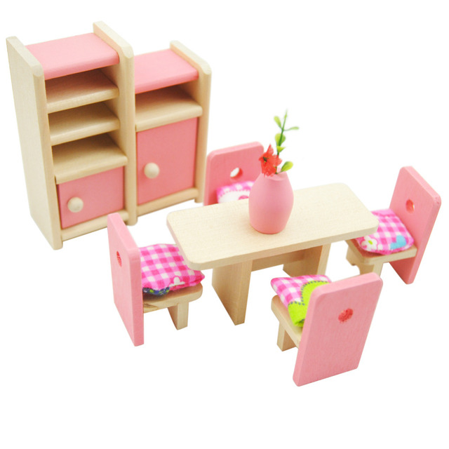 Simulation Miniature Wooden Furniture Toys Doll House Wood Furniture Set  Dolls Baby Room For Kids Play