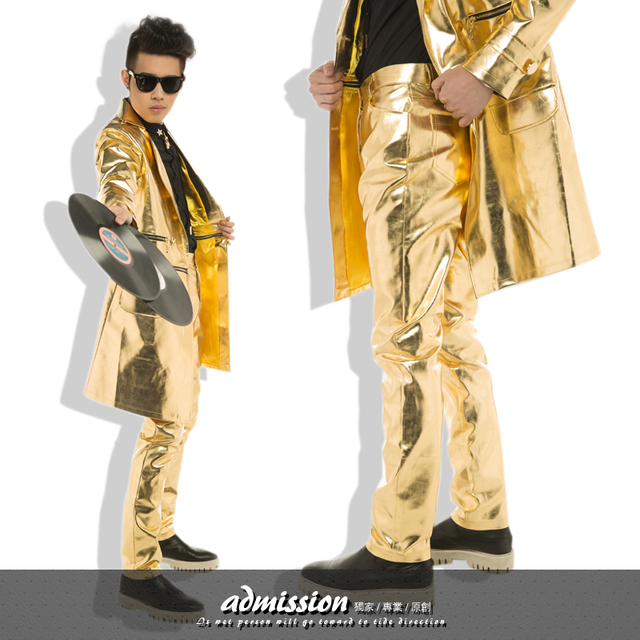 Nightclub Men Singers DS Personality Slim Gold Leather Pant The Host Rock Stage Costumes Leather Pant Trousers Men's Pant ! S-XL