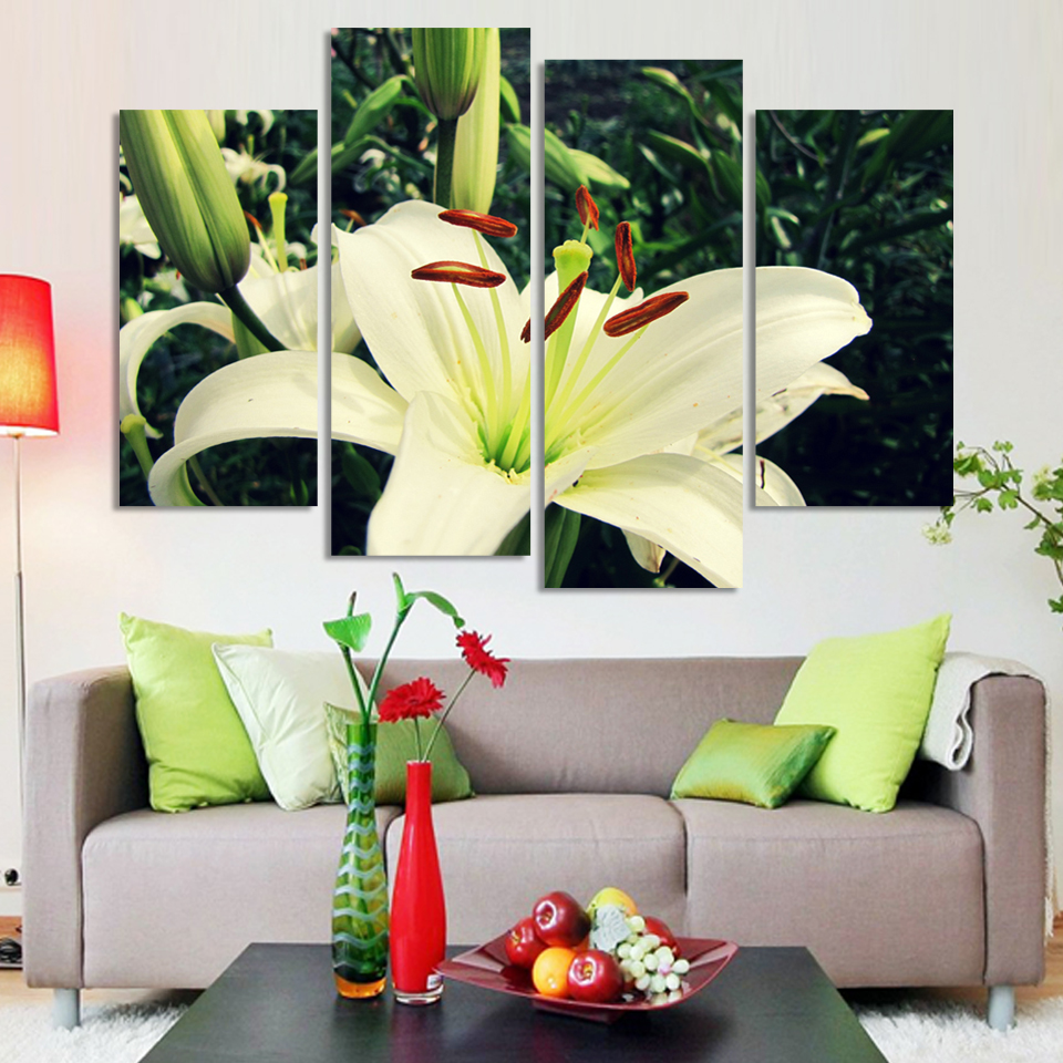 4pcs greenish lily flower bright print oil painting canvas for sofa 4pcs greenish lily flower bright print oil painting canvas for sofa background wall picture free shipping in painting calligraphy from home garden on izmirmasajfo