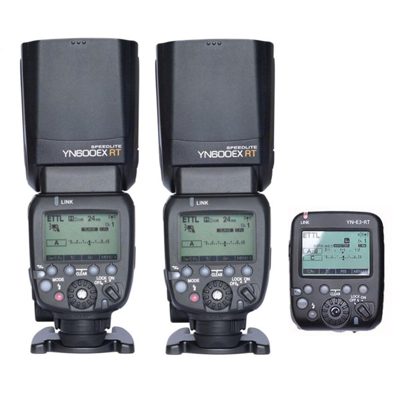 2pcs YONGNUO YN600EX-RT +YN-E3-RT Master Flash Speedlite for Canon RT Radio Trigger System ,ST-E3-RT,600EX-RT yongnuo 3x yn 600ex rt ii 2 4g wireless hss 1 8000s master flash speedlite yn e3 rt flash trigger for canon eos camera 5d 6d