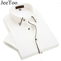 JeeToo Brand White Mens Shirts Short Sleeve Slim Fit Mens Dress Shirts Formal Shirt Cotton Business