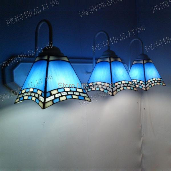 3 Lights Tiffany Wall Lamp Mediterranean Sea Style Mermaid Wall Sconces Mirror Bathroom Bedside Cabinet Fixtures E27 110 240V