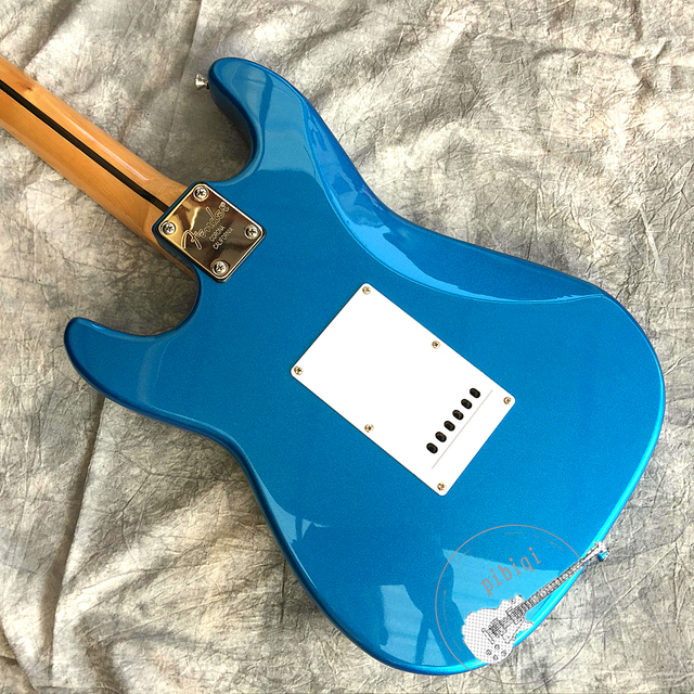 Transport gratuit, guitare électrique, corps bleu métal, fente pour touche, quincaillerie argentée, personnalisable!