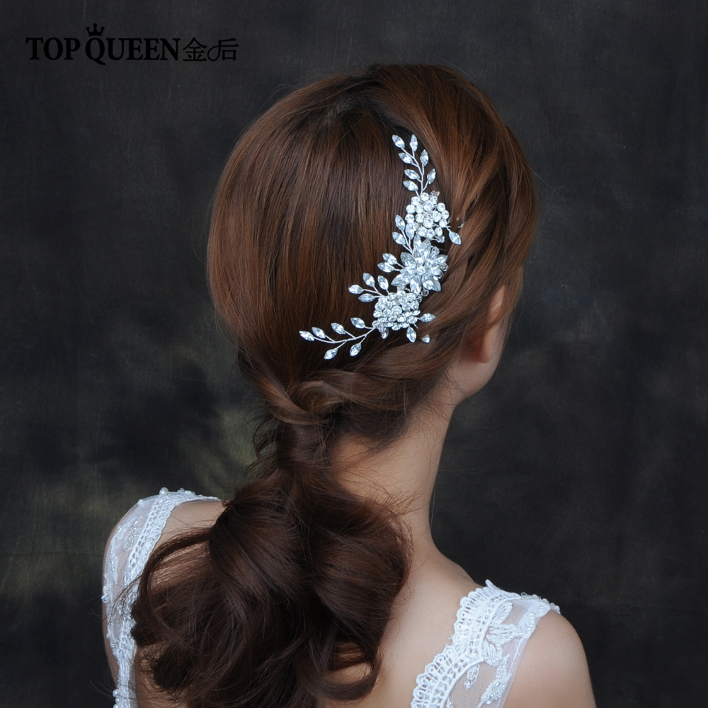TOPQUEEN HP77 Wedding Tiara Bridal Combs Rhinestone Wedding Hair Accessories Wedding Headwear Bridal Headdress Wedding Hair Comb