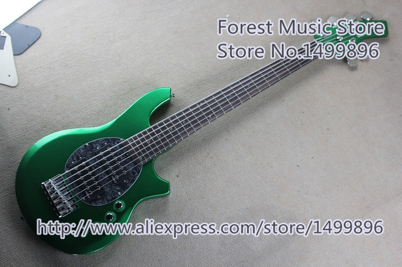 China Custom Shop Music Man 6 String Electric Bass Guitars With Solid Basswood Guitar Body For Sale
